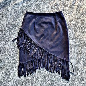 HAHA asymmetrical grey fringe midi hem boho skirt